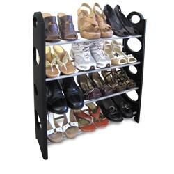 Home Basics Black Plastic and Metal 12 Pair Shoe Rack