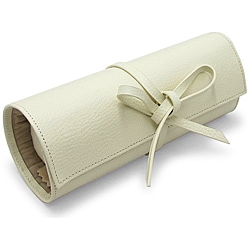 Morelle Tara Cream Leather Jewelry Roll