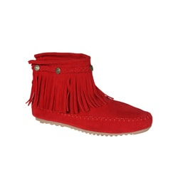 Refresh by Beston Women s 'Mini-01' Red Fringe Ankle Booties (9157752) photo