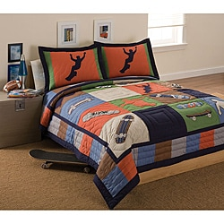 Cool Skate Applique Patchwork Cotton/Polyester Kids Quilt Set