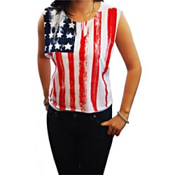 Miss Popular American Flag Wide Cut Tank