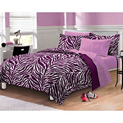 Zebra Purple/White 7-piece Bed in a Bag with Sheet Set