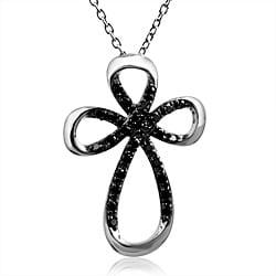 Bridal Symphony Sterling Silver 1/3ct TDW Black Diamond Cross Necklace 9249922