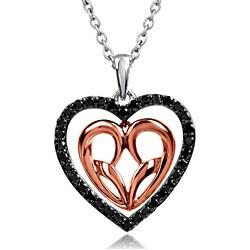 Bridal Symphony 10k Rose Gold and Silver 1/3ct TDW Black Diamond Necklace