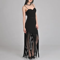 Janine of London Women's Black Fringed Evening Dress