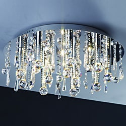 Modern 16-light 21-inch Polished Chrome Crystal Flush Mount Ceiling Light