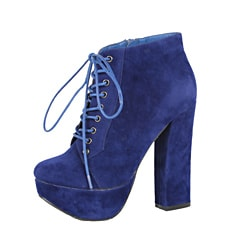 Modesta by Beston Women's 'Tomo-01' Blue Lace-up Booties