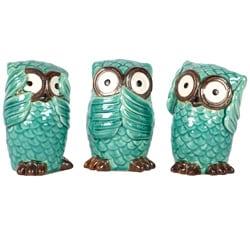 Blue Ceramic Owls Blue (Set of Three)