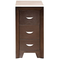 Silkroad Exclusive Dark Walnut Brushed Nickel Bathroom Vanity Side Cabinet Drawer Bank