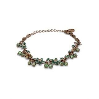 PILGRIM SK/ERBORG Bracelet with Crystals/ Freshwater Pearls Brown Metal/ Green Resin