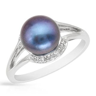 Ring with Cubic Zirconia/ 90mm Freshwater Pearl of .925 Sterling Silver