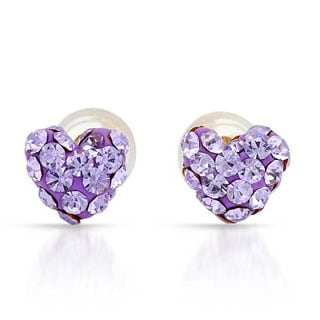 Heart Earrings with Crystals Violet Enamel/ Yellow Gold
