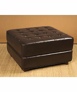 Button-tufted Dark Brown Leather Ottoman