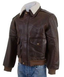 Men's Distressed Brown Leather Bomber Jacket