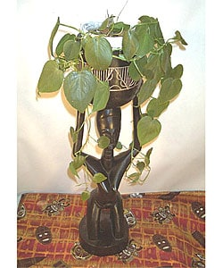 African Wood Carved Large Flower Pot (Ghana) : Garden & Patio from Overstock.com :  home pot ghana wood
