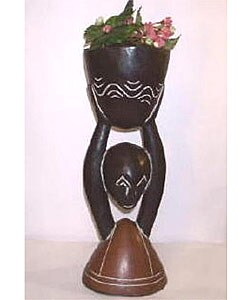African Wood-carved Medium Flower Pot (Ghana) : Garden & Patio from Overstock.com :  home pot ghana wood