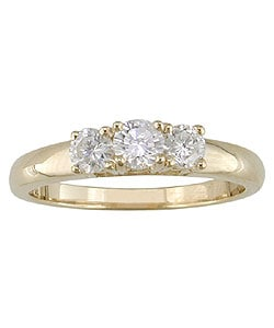 14k Gold 1/2ct TDW Diamond Three-Stone Ring (GH, I1-I2)