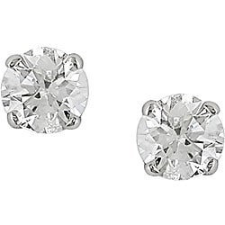 14k White Gold 1/2ct TDW Round Diamond Stud Earrings (I-J/ I2-I3)