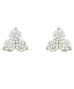 14-kt Gold & 1/3ct TDW Round Diamond Three-Stone Earrings (I-J/ I2-I3)