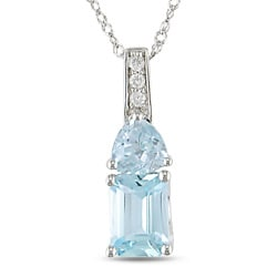 14k White Gold Diamond Blue Topaz Pendant