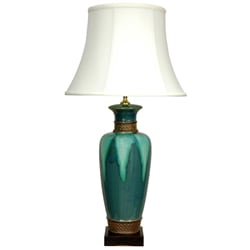 Deep Green Glazed Table Lamp (China) : Home Decor from Overstock.com :  lamp home decor glazed