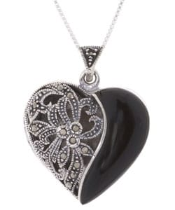 Silver Marcasite and Onyx Locket Heart Pendant : Jewelry from Overstock.com