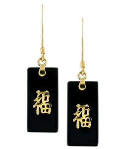 14k Gold Onyx Good Luck Dangle Earrings : Jewelry from Overstock.com
