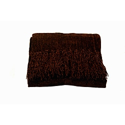 Susan Luxury Chocolate Chenille Throw with Fringe