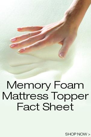 Memory Foam Mattress Topper Fact Sheet